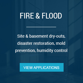Site & basement dry-outs, disaster restoration, mold prevention, humidity control